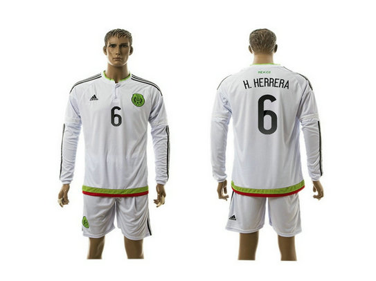 2015-2016 Mexico Soccer Jersey Uniform White Away Long Sleeves #6 H.HERRERA
