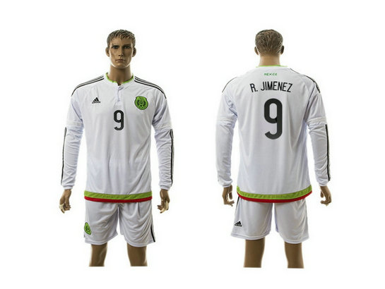 2015-2016 Mexico Soccer Jersey Uniform White Away Long Sleeves #9 R.JIMENEZ