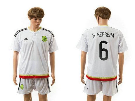 2015-2016 Mexico Soccer Jersey Uniform White Away Short Sleeves #6 H.HERRERA