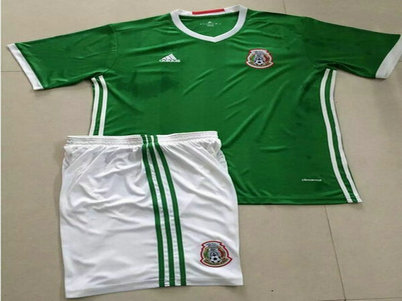 2016-17 Mexico Home Green Soccer Uniform