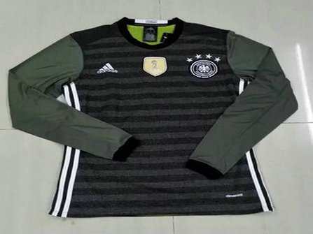 2016 Germany Away Black Long Sleeves Thailand Soccer Jersey