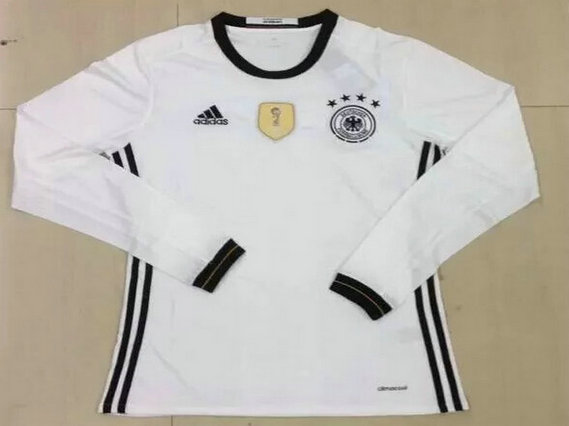 2016 Germany Home White Long Sleeves Thailand Soccer Jersey