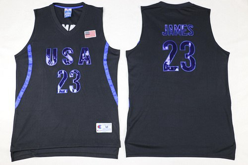 2016 Olympics Team USA Men's #23 LeBron James All Black Soul Swingman Jersey