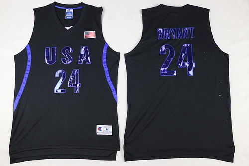 2016 Olympics Team USA Men's #24 Kobe Bryant All Black Soul Swingman Jersey