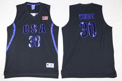 2016 Olympics Team USA Men's #30 Stephen Curry All Black Soul Swingman Jersey