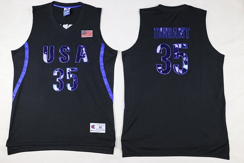 2016 Olympics Team USA Men's #35 Kevin Durant All Black Soul Swingman Jersey