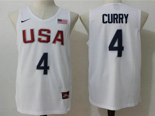 2016 Olympics Team USA Men's #4 Stephen Curry Revolution 30 Swingman White Jersey