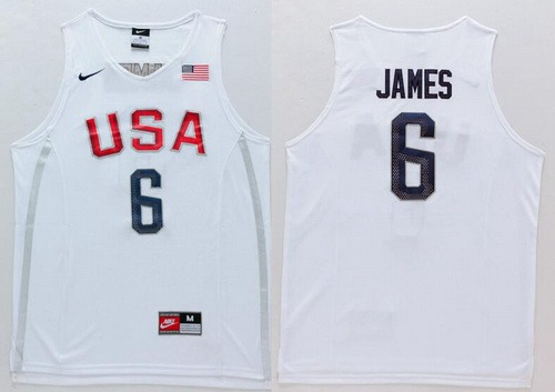 2016 Olympics Team USA Men's #6 LeBron James Revolution 30 Swingman White Jersey