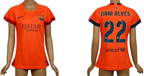 2014/15 FC Bacelona #22 Dani Alves Away Soccer AAA+ T-Shirt_Womens