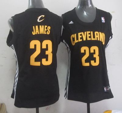 Cleveland Cavaliers #23 LeBron James Black With Gold Womens Jersey
