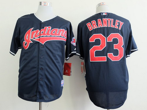 Cleveland Indians #23 Michael Brantley 2013 Navy Blue Jersey