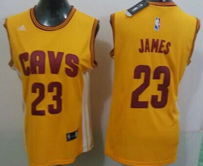 Cleveland Cavaliers #23 LeBron James 2014 New Yellow Womens Jersey
