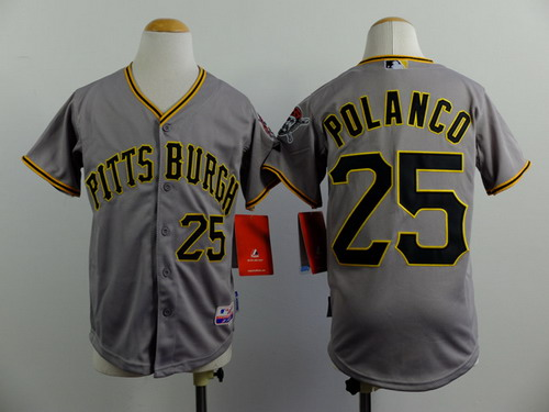 Pittsburgh Pirates #25 Gregory Polanco Gray Kids Jersey