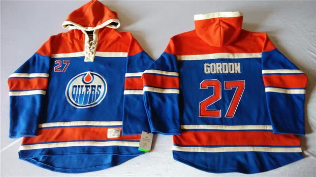 Old Time Hockey Edmonton Oilers #27 Boyd Gordon Royal Blue Hoodie