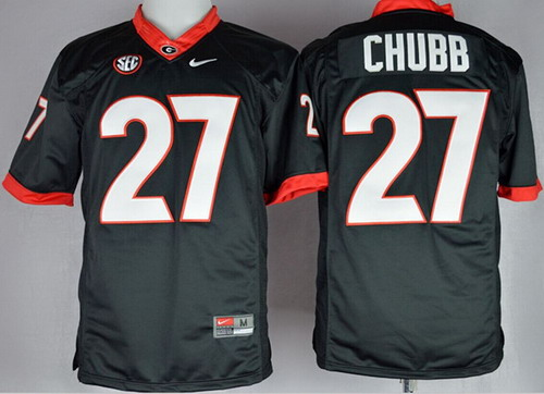 Georgia Bulldogs #27 Nick Chubb 2014 Black Limited Jersey