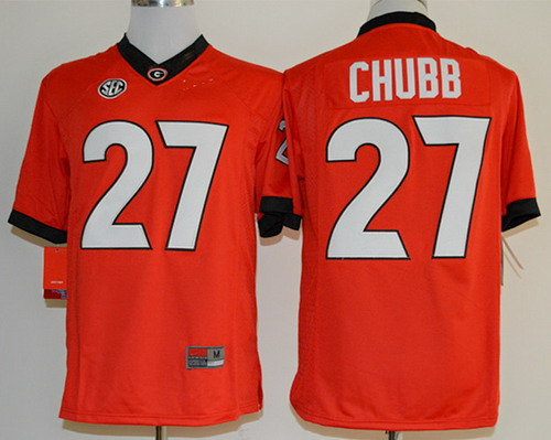 Georgia Bulldogs #27 Nick Chubb 2014 Red Limited Jersey