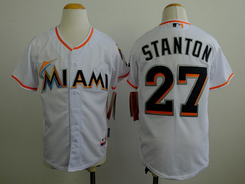 Miami Marlins #27 Mike Stanton White Kids Jersey