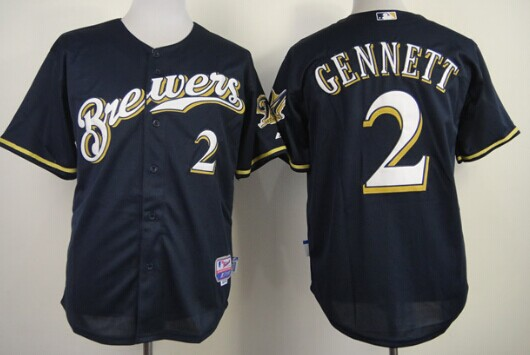 Milwaukee Brewers #2 Scooter Gennett Navy Blue Jersey