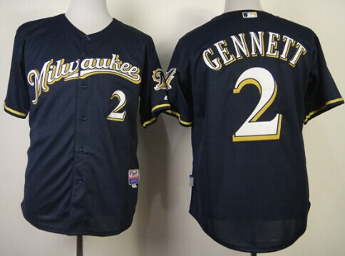 Milwaukee Brewers #2 Scooter Gennett 2014 Navy Blue Jersey
