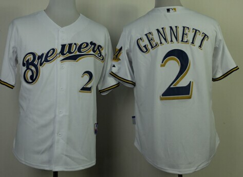 Milwaukee Brewers #2 Scooter Gennett White Jersey