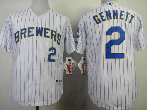 Milwaukee Brewers #2 Scooter Gennett White Pinstripe Jersey