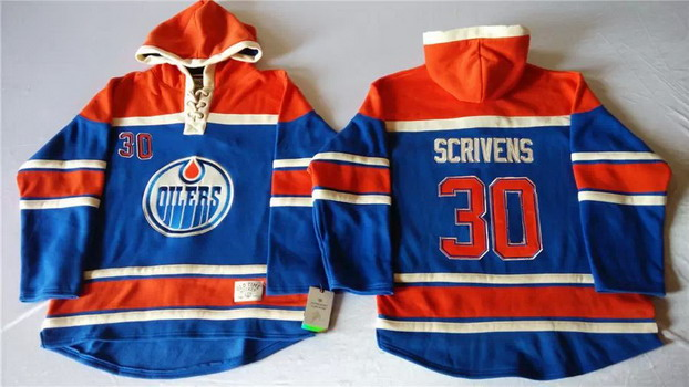 Old Time Hockey Edmonton Oilers #30 Ben Scrivens Royal Blue Hoodie