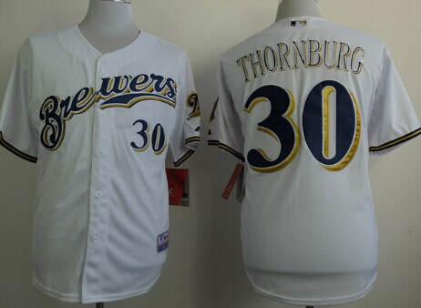 Milwaukee Brewers #30 Tyler Thornburg White Jersey