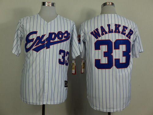 Montreal Expos #33 Larry Walker 1982 White Pinstripe Throwback Jersey