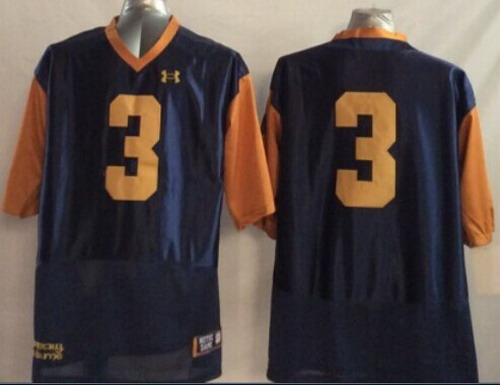 Notre Dame Fighting Irish #3 Joe Montana 2014 Blue With Yellow Jersey