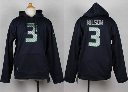 Nike Seattle Seahawks #3 Russell Wilson Navy Blue Kids Hoodie