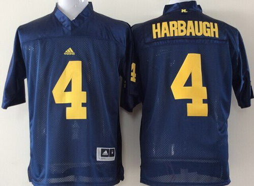 Michigan Wolverines #4 Jim Harbaugh Navy Blue Jersey