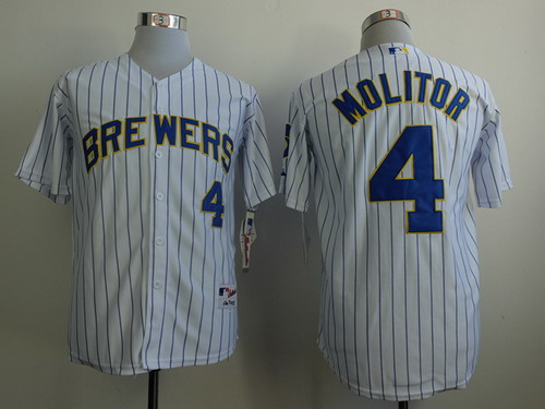 Milwaukee Brewers #4 Paul Molitor White Pinstripe Jersey