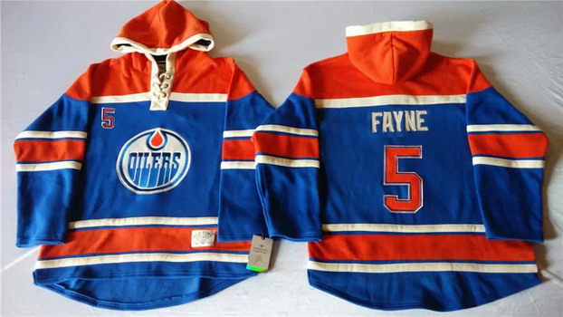 Old Time Hockey Edmonton Oilers #5 Mark Fayne Royal Blue Hoodie