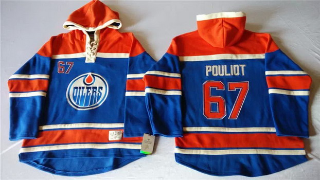 Old Time Hockey Edmonton Oilers #67 Benoit Pouliot Royal Blue Hoodie