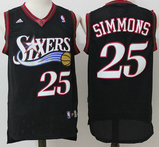 76ers #25 Ben Simmons Black Throwback Stitched Basketball Jersey