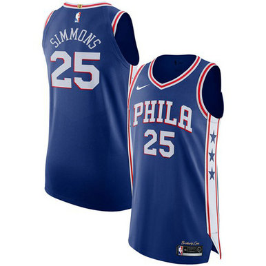 76ers #25 Ben Simmons Blue Basketball Authentic Icon Edition Jersey