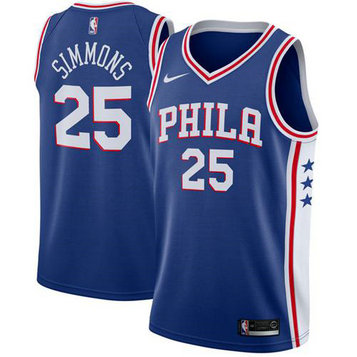 76ers #25 Ben Simmons Blue Basketball Swingman Icon Edition Jersey