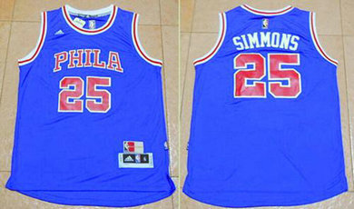 76ers #25 Ben Simmons Blue Throwback Stitched Basketball Jersey