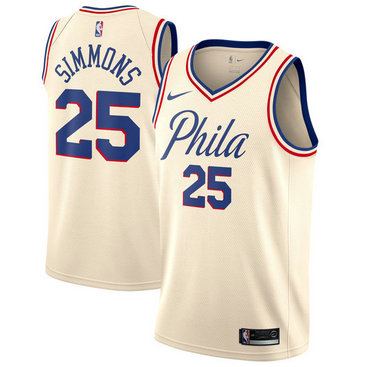 76ers #25 Ben Simmons Cream Basketball Swingman City Edition Jersey