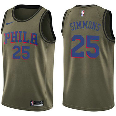 76ers #25 Ben Simmons Green Salute to Service Basketball Swingman Jersey