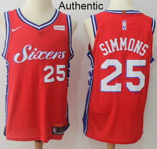 76ers #25 Ben Simmons Red Basketball Authentic Statement Edition Jersey