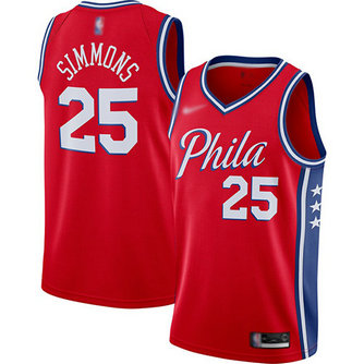 76ers #25 Ben Simmons Red Basketball Swingman Statement Edition 2019-2020 Jersey
