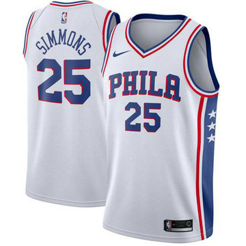 76ers #25 Ben Simmons White Basketball Swingman Association Edition Jersey