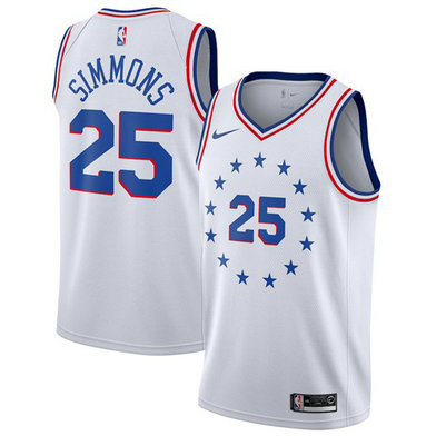 76ers #25 Ben Simmons White Basketball Swingman Earned Edition Jersey