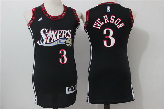 76ers 3 Allen Iverson Black Women Throwback Swingman Stitched NBA Jersey
