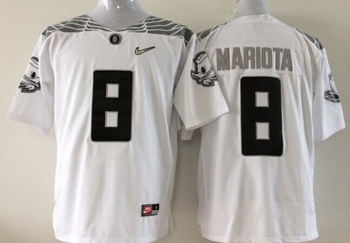 Oregon Duck #8 Marcus Mariota 2015 Playoff Rose Bowl Special Event Diamond Quest White Jersey