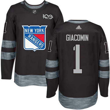 Adidas Men's York Rangers #1 Eddie Giacomin Stitched Black 1917-2017 100th Anniversary NHL Jersey