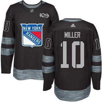 Adidas Men's York Rangers #10 J.T. Miller Stitched Black 1917-2017 100th Anniversary NHL Jersey