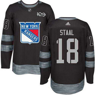 Adidas Men's York Rangers #18 Marc Staal Stitched Black 1917-2017 100th Anniversary NHL Jersey