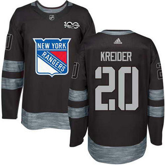 Adidas Men's York Rangers #20 Chris Kreider Stitched Black 1917-2017 100th Anniversary NHL Jersey